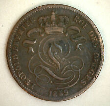 1859 Copper Belgium 1 Centimes Coin Currency VF