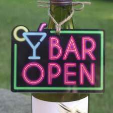 BAR OPEN SIGN, NEON EFFECT, Mini Home Bar Sign, Funny Man Cave Cocktail Bar Sign