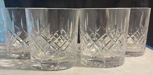 "4 Edinburgh Crystal Whiskey Glasses ""Appin"" Cut Scotland 3"" Tall"