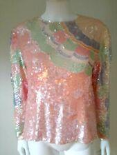 Vintage 80s OLEG CASSINI Pastel deco flapper Sequin trophy cocktail dress top M