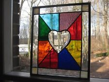 Color love  stained glass panel window with clear beveled heart