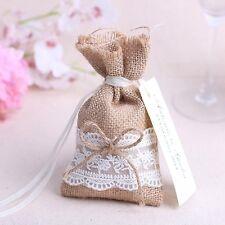 20pz sacchetti sacchetto rustici iuta lino fiocco pizzo matrimonio bomboniera