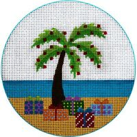 """NEEDLEPOINT HandPainted JP Needlepoint CHRISTMAS Palm Tree Packages 4.5"""""""
