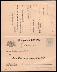 1474 BAVARIA GERMANY OFFICIAL PS STATIONERY POSTAL CARD WITH REPLY Mi. # DPB1