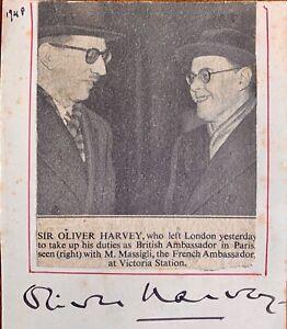 OLIVER HARVEY,1st BARON HARVEY OF TASBURGH FORMER UK AMBASSADOR TO FRANCE