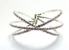 Silver Criss Cross Layered Fashion Style Clear Rhinestone Bracelet Lightweight