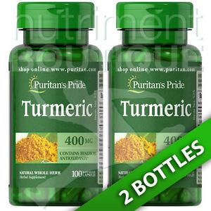 Turmeric 400 mg 2X100 or 1X200 Capsules - Curcuma longa Puritan's Pride