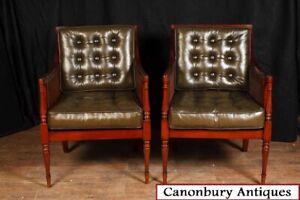 Pair Art Deco Arm Chairs Mahogany Fauteils Club Chair