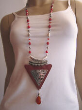 Modekette Damen Hals Kette lang Silber Perlen Rot Hippie Ethno Ibiza Boho w9981