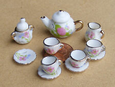 1:12 Scale 11 Piece Ceramic White & Pink Floral Tea Set Tumdee Dolls House RO7