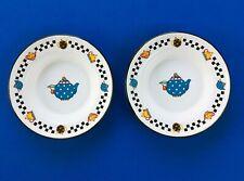 Mary Engelbreit metal enamelware plates - set of 2 - Me Ink 2000 teapots Freegi