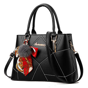 Schwarz Damentasche Leder Damen Handtasche Schultertasche Shopper Cross Tasche