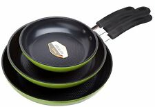 """Green Earth Frying Pan 3-Piece Set by Ozeri (8"""", 10"""", 12""""), with Textured Cer ,"""