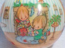 "1988 Hallmark Betsy Clark ""Home For Christmas"" Glass Christmas Ornament"