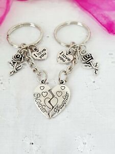 Mother And Daughter Hearts Keyrings Bag Charm With Gift Bag Mothers Day Mum