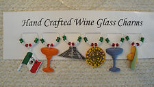 """""""CINCO de MAYO""""/ MEXICO  SET OF 6 Hand Crafted Wine Glass drink Markers"""