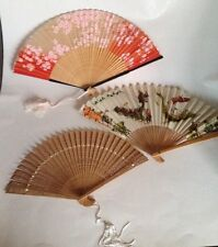 Set Of 3 - Orient Inspired Hand Painted Wooden Vintage Hand Fans
