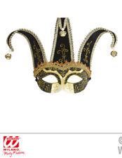 Nero JOLLY JESTER Maschera Veneziana Ballo In Maschera Carnevale Costume Accessorio