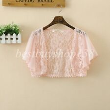 Women's Short Sleeve Lace Bolero Shrugs Crochet Open Cardigan Sheer Crop Jacket