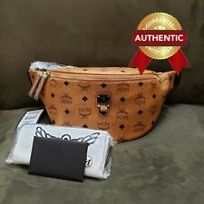 NEW Authentic MCM Fursten Belt Bag in Visetos Fanny Pack / Cognac MEDIUM