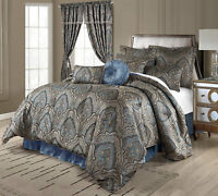 Luxurious New 9 pcs Gold/ Blue  Medallion Paisley Comforter Set Cal King Queen