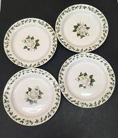 "Set of 4 Vintage Superior Hall Quality Dinnerware Cameo Rose Dinner Plates 9"""