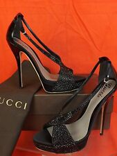 NIB GUCCI BLACK SOFIA SATIN CRYSTALS PATENT LEATHER PLATFORM PUMPS 40 10 258446