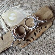 Sterling Silver Large Tribal Gypsy Earrings Ear Weight 28 x 40mm Nomad Ethnic UK