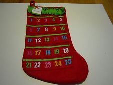 """New ! Christmas Stockings Holiday Decorations Advent Calender Red 19"""" Long"""