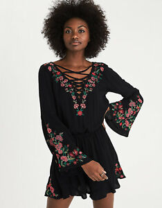 NEW AMERICAN EAGLE OUTFITTERS Womens Romper Black Lace-Up Embroidered Size Small