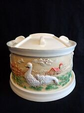 Hershey Mold Ceramic CANISTER SET of 4 with Tray GEESE Ducks White Seal Tight