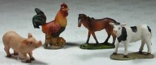 "Set of 4 Farm Animals 5cm 2"" Poly Resin Pig, Horse, Cow & Chicken FARMPACK"