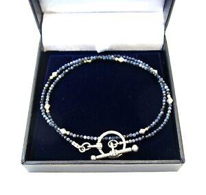 small blue sapphire gemstone gold silver bracelet toggle wrap genuine beads men