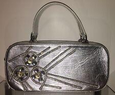 BALDININI Abendtasche Damen Tasche Clutch Bag Srasssteine Leder Silver NEW