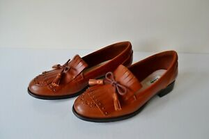 """CLARK`S """"BUSBY LOLA"""" TAN LEATHER CUSHION SOFT LOAFER STYLE CASUAL SHOES UK 6.5D"""
