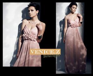 SALE! sw69 BNWT V-neck Chiffon Formal Maxi Dress Evening Gown Dusty Pink