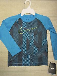 NWT Boys NIKE Dri Fit Shirt Long Sleeve Logo Front Blue Sz 4