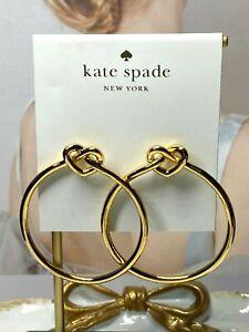 Kate Spade New York Gold Love Me Knot Heart Hoop Earrings