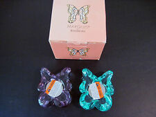 Marquis By Waterford Purple And Green Butterfly Votive W/ Tea Lights 2 Nib