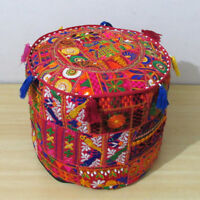Pouf Cover Ottoman Indian Red Patchwork Handmade Pouffe Stool Decor Round Ethnic