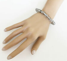 Beautiful Smoky Grey Crystal Bead Bracelet Stretchy with Silver spacer UK Seller