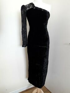Jessica Mcclintock Vtg Black Velvet & Lace One Shoulder Evening Dress Sz UK 12