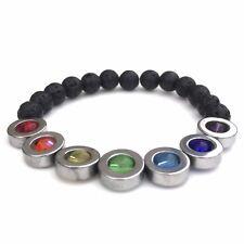 7 Chakra Bracelet Silver Haematite and Lava Stone Diffuser Bracelet Unisex Gift