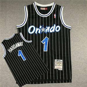 Anfernee Hardaway Orlando Magic Black Striped Throwback Jersey Size S-XXL