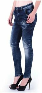 """Cipo & Baxx Women's Blue Slim Tapered Fit Jeans C6010 W26"""" L34"""" New With Tags"""