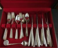 1847 ROGERS BROS Silverplate Flatware Silver Lace 61 Pieces Service for 12