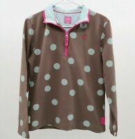 Joules Sweatshirts Pullover Girls US 6 Half Zip Brown Blue Polka Dots