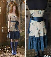 RARE Size 2 Anthropologie Winter Flame Dress Strapless Tabitha Cotton Silk Hem