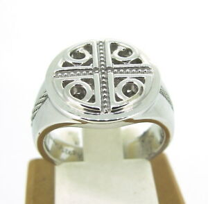 Phillipe Charriol Sterling & Stainless Steel Celtic Key Cable Ring Size 6