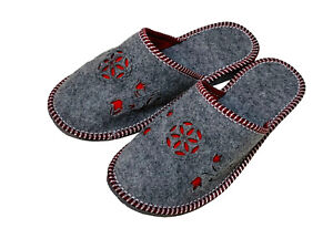 Grey Melange Red flowers floral Pattern Women slippers mules sizes 3 4 5 6 7 8 9